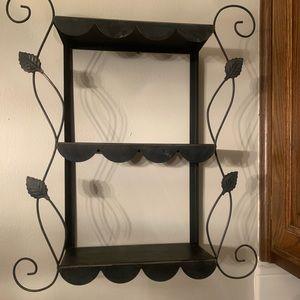 Black rustic lite weight metal shelf. Used.